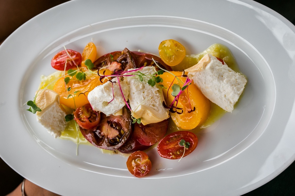 Vivace Charlotte Smoked Burrata, heirloom tomatoes, lemon jam
