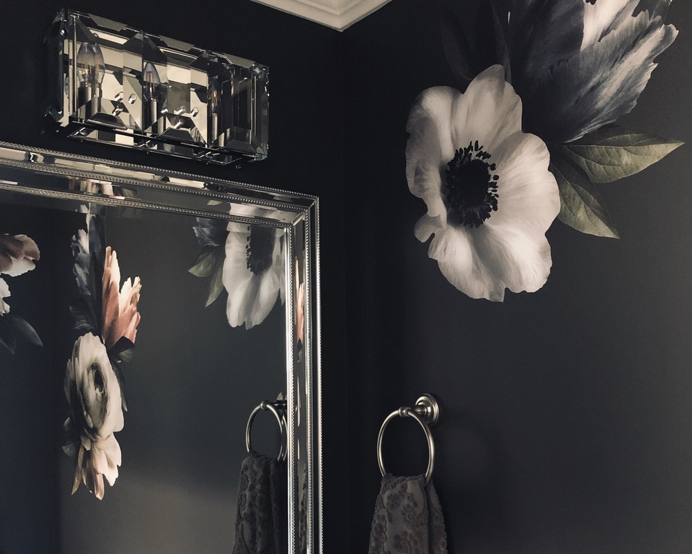 Small Powder Room Idea: Glam, Moody, and Floral
