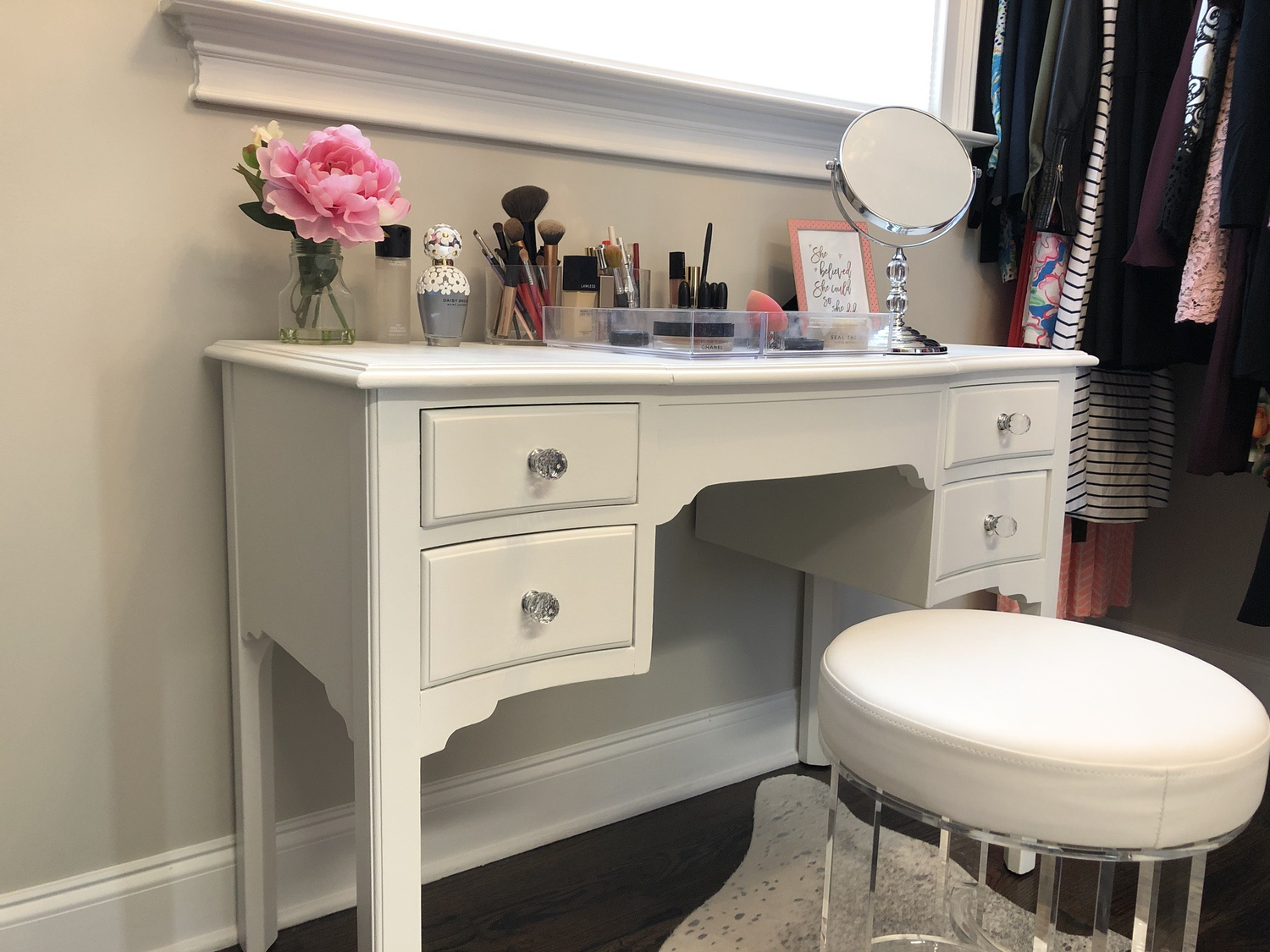 How To Paint Furniture Antique Vanity Makeover 12 Annie Spano