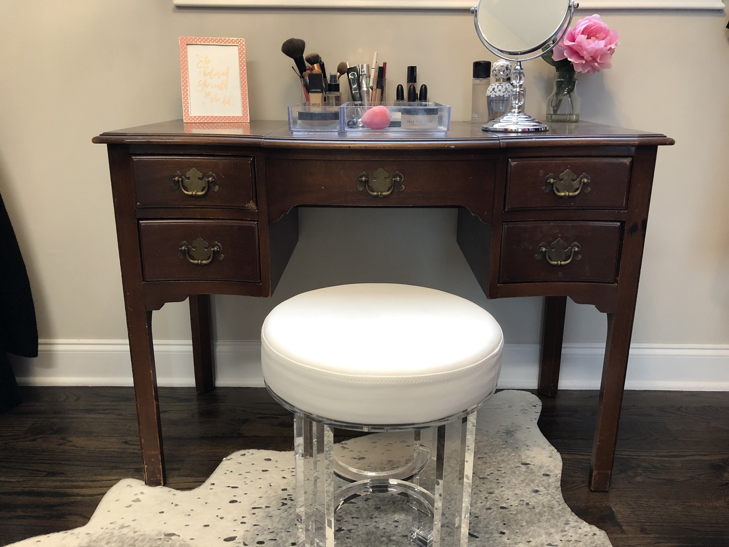 How To Paint Furniture Antique Vanity Makeover Annie Spano