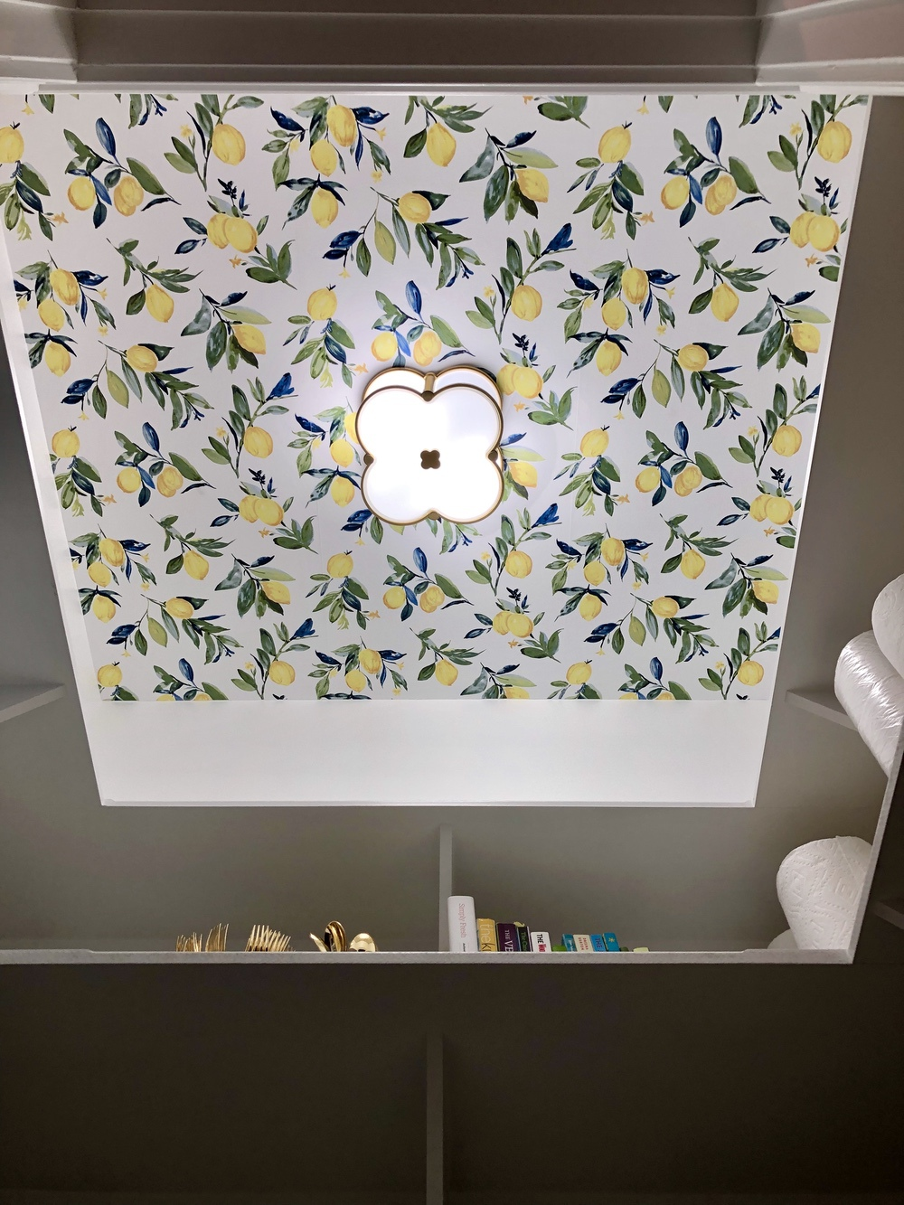 Pantry Lemon Wallpaper with Hudson Valley Lighting Chandler Aged Brass Two Light Flush Mount Header